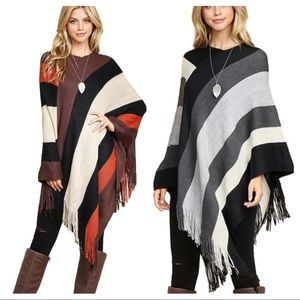 Sweaters - Spring sale 🌺 Color block fringe poncho